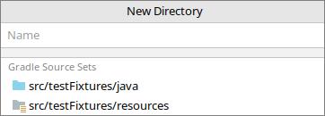 "Okno ""New Directory"" po dodaniu pluginu java-test-fixtures"
